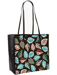Multicolor Leaves Brown Pattern Obo, Shoulder Bag Tote Faux Leather Handbag Satchel Tote