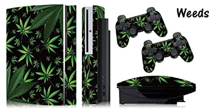 Protective skins for FAT Playstation 3 System Console, PS3 Controller skin included - WEEDS