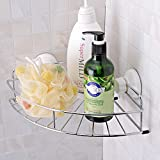 MSDY Wall-Mounted Stainless Steel Shower Caddies with Vacuum Suction Cups Shower Corner Shelf Shelf Kitchen Storage Basket