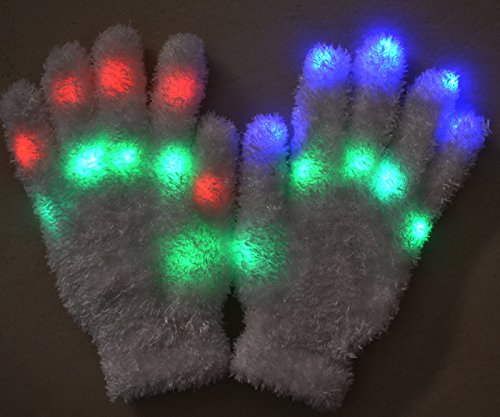 [1 Pair of LED Flashing Light Up Party Rave Gloves - Various Styles by Mammoth Sales (Fluffy)] (Michael Jackson Black Or White Costume)