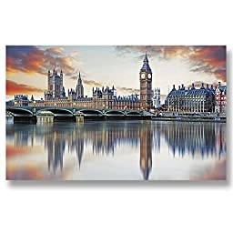 Neron Art - Hand painted Cityscape Oil Painting on Rolled Canvas for Living Room Wall Decor - Big Ben London 48X28 inch