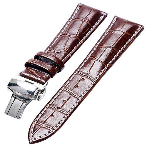 YISUYA 20 mm, cinturino in vera pelle per orologio da polso, cinturino a pulsante diffusione, colore: marrone