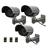 Etekcity® 3 Pack Surveillance Fake Dummy Camera CCD, Baterries Included, with LED Flashing/Blinking Light, Indoor and Outdoor(Silver)