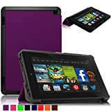 Britainbroadway 2014 Fire HD 7 Case Cover - Tri-Fold Ultra Slim Stand Case Cover With Smart Cover Auto Wake/Sleep Case For Amazon New Kindle Fire HD 7.0 Inch 4th Generation Tablet (Fire HD 7, Purple)