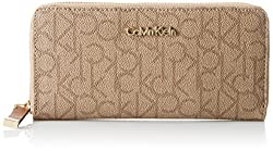 Calvin Klein Monogram Wallet, Textured Khaki/Brown/Luggage Saffiano, One Size