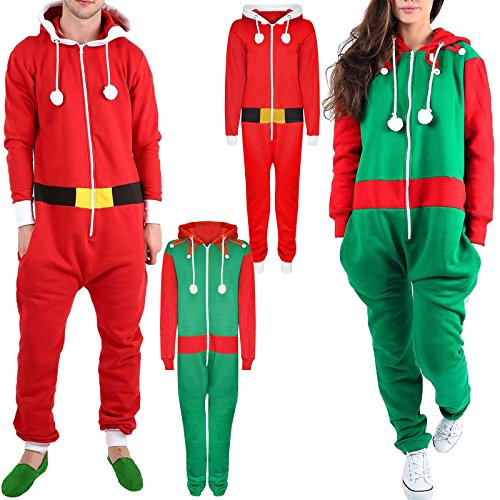 New-Unisex-Mens-Womens-Festive-Red-Santa-And-Green-Elf-Novelty-Christmas-Ladies-Onesie-Jumpsuit