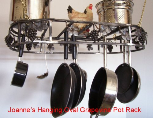 Cheap Grapevine Hanging Oval Cookware Pot Rack : Silvadillo finish & Options (ahogsilvadillo)