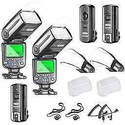 Neewer®  NW565EX I-TTL Slave Flash Speedlite Kit for Nikon DSLR Camera,include:(2)TTL Flash+(1)2.4G Wireless Trigger(1 Transmitter,2 Receiver)+(2)Soft&Hard Diffuser+C1/C3 Cables+(2)Lens Cap Holder