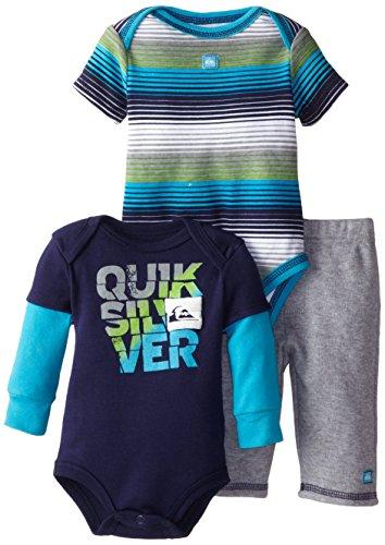 Quiksilver Babys Newborn Stripes Short Twofer Navy Long Sleeve Bodysuit And Pant, Multi, 3-6 Months front-463292