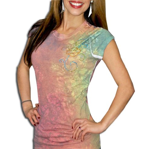 Click image above to enlarge More Views Harley-Davidson® Womens Rainbow Shimmer Short Sleeve T-Shirt (Large)