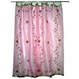 "Gift for Her-2 Organza Pink Base with Red Bell Embroidered Sari Curtains Drapes Panel 92"" Tabsby Mogulinterior"