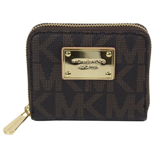 Michael Michael Kors Mk Signature Zipper Bifold Wallet Brown