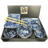 Made in Japan Floral Blossom Blue Motif Ceramic Sushi Dinnerware 8pc Set For Two Consisting Pairs of Sushi Plates Soup Sauce Bowls and Chopsticks Great Housewarming Gift For Sushi Enthusiasts (Color: Blue White)