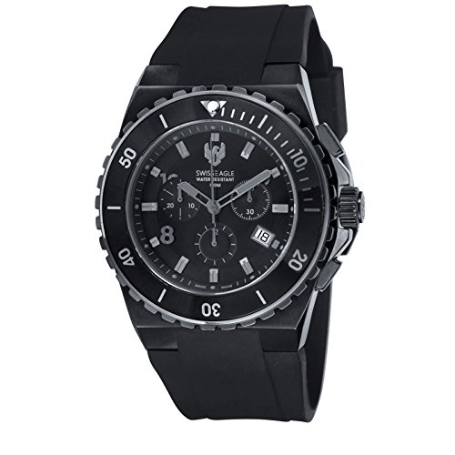 Swiss Eagle Silicon Strap Band with Black Dial Swiss Made Ronda 5030 Movement Men's Chronograph Analog Watch SE-9038-01