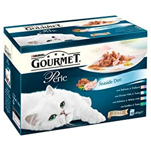 Purina Gourmet Perle Seaside Duo Wet Cat Food 12 x 85 g (Pack of 4)