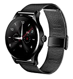 Witmood k88h Round Smart Watch Heart Rate Monitor Wristwatch with Remote Camera Clock Bluetooth for Android and IOS Phone (Metallic black)