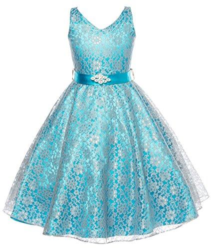 Dressforless Lovely Lace V-Neck Flower Girl Dress , Turquoise, 6
