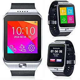 CNPGD All-in-1 Watch Cell Phone & Smart Watch Sync to Android IOS Smart Phone (Silver)