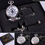 6 Different Style Fullmetal Alchemist Anime Pocket Watch & Necklace & Ring