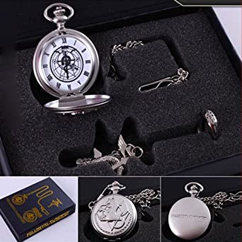 6 Different Style Fullmetal Alchemist Anime Pocket Watch & Necklace & Ring (A_Style)