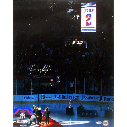 Steiner Sports NHL Brian Leetch Retirement Night Banner Raising Vertical Autographed 8-by-10-Inch Photograph
