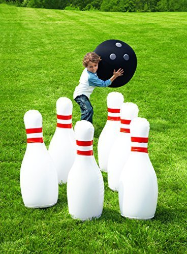 "HearthSong Giant Bowling Game, Inflatable - Classic Red, White, and Black - 29""H"