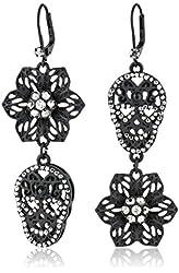 Betsey Johnson Filigree Skull and Flower Double Drop Earrings