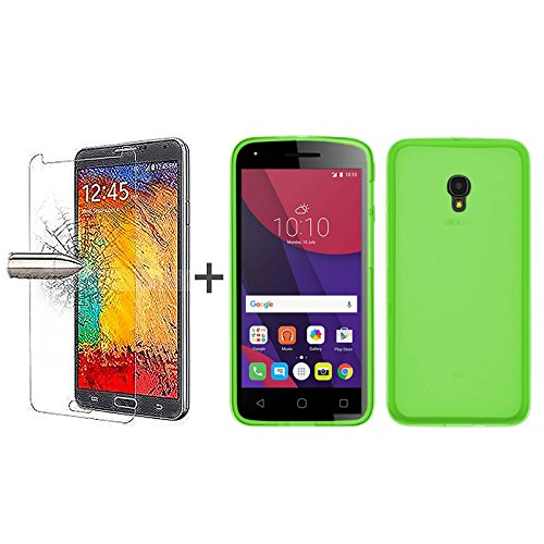tbocr-pack-green-tpu-silicone-gel-case-tempered-glass-screen-protector-for-alcatel-pixi-4-5-4g-soft-