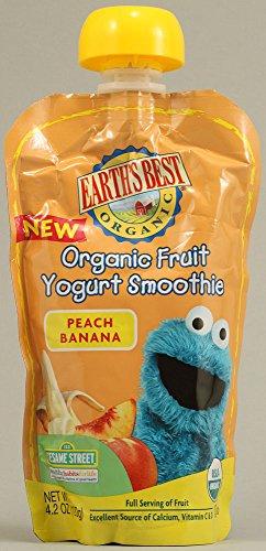 Earth Best Pouch Organic Fruit Yogurt Smoothie Peach Banana 4.2 Oz