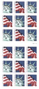 Lady Liberty and U.S. Flag ATM Sheet of 18 x Forever US Postage Stamps