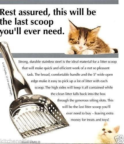 ENDURANCE STAINLESS STEEL CAT KITTY LITTER BOX SCOOP EXTRA LARGE - SIFTING (Metal Cat Litter Pan compare prices)