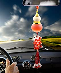 Angela_max Car Ornament Home Decoration Crystal Glass Gourd Perfume Bottle Automotive Rearview Mirror Blessing Safe Journey Symbol Tassel Beads Perfume Car Interior Pendant (red)