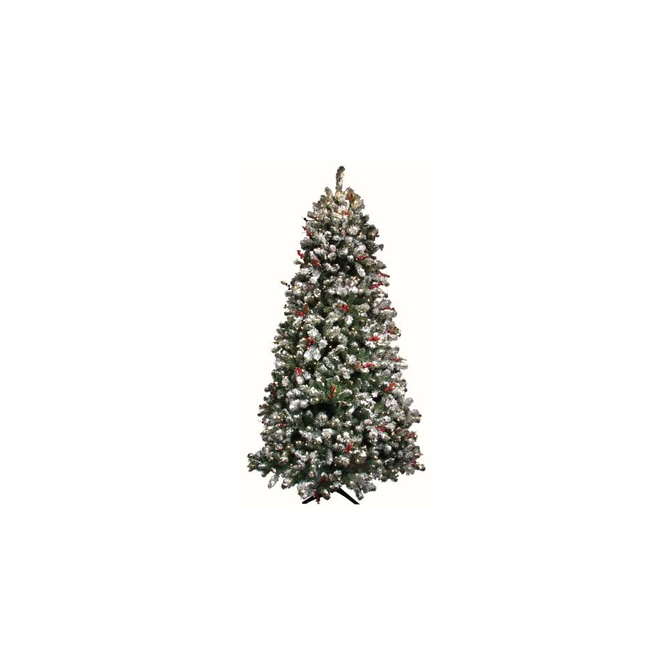 Good Tidings Tiger Pine Artificial Prelit Christmas Tree 4 1/2 Feet Tall with 250 Clear Lights and Flocking