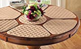 Collections Etc Padded Round Table Placemats And Centerpiece, 7Pc Beige