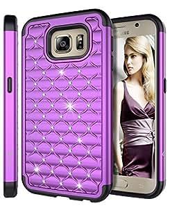 S6 Case, Galaxy S6 Case, Style4U Galaxy S6 Studded Rhinestone Crystal Bling Hybrid Armor Case Cover for Samsung Galaxy S6 with 1 Style4U Stylus [Purple / Black]