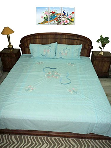 Amita's Home Furnishing Sky Blue Color Hand Embroided BedSheet With 2 Pillow Cover