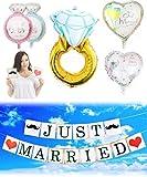 JINSELF 結婚サプライズリング 【6点セット】【巨大指輪/英国ガーランド】 バルーン装飾セット 結婚式で華やかな飾りつけ アルミ ハート インテリア 【指輪バルーン】