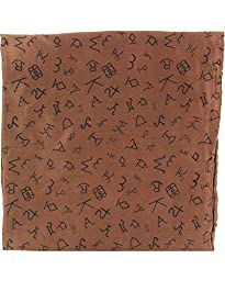 M & F Western Men\'s Branding Design Silk Wild Rag Brown One Size