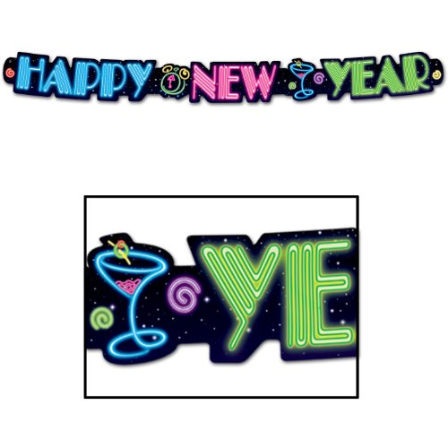 Neon Happy New Year Streamer Party Accessory (1 count) (1/Pkg)