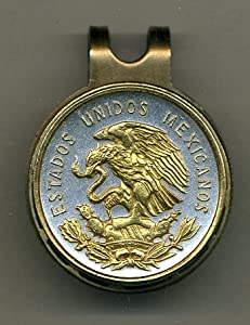 Gorgeous 2-Toned Gold on Silver Mexican eagle - coin - Golf Ball Marker - Hat Clips by J&J Coin Jewelry