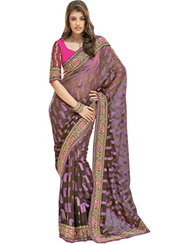 Cbazaar Black Brasso Saree with Blouse Piece