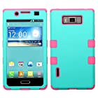 LG Optimus Showtime US730 Pink Blue Rubber Tuff Hybrid Cover Snap On Hard Case Cell Phone Shield Protector Shell from [Accessory Library]
