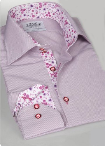 Jermyn street shirts Mens Purple Slim Fit formal Paisley Shirt - X-Large