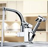 360 Degree Swivel Chrome Faucet Two Spouts Kitchen Mixer Faucet Tap Solid Kitchen Tap Sink Mixer