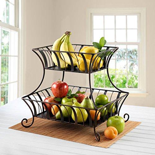 Countertop Fruit Basket Antique Black 2 Tier Basket Dining Fruit Vegetable Rack Holder Fruit