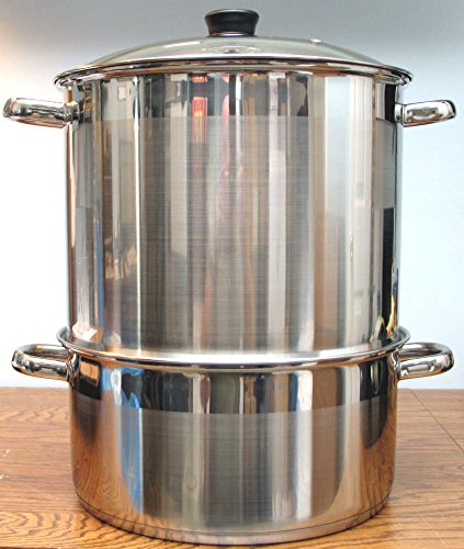 5 Tier/Level 18 qt Uzbek 18/10 Stainless Steel Steamer Cooker Warmer w/Tempered Glass Cover for Dumplings, Ravioli, Vegetables, Fish, Manti, Mantovarka