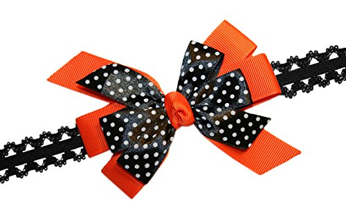 Webb Direct 2U Baby-Girls Black Dotted Grosgrain Hair Bow Headband Orange 8009 front-647386
