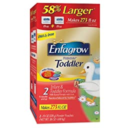 1 Box of Enfagrow Toddler Transitions 2, For Toddlers 9-18 months, Box includes 2 19 Oz Pouches, Box Makes 269 FL Oz