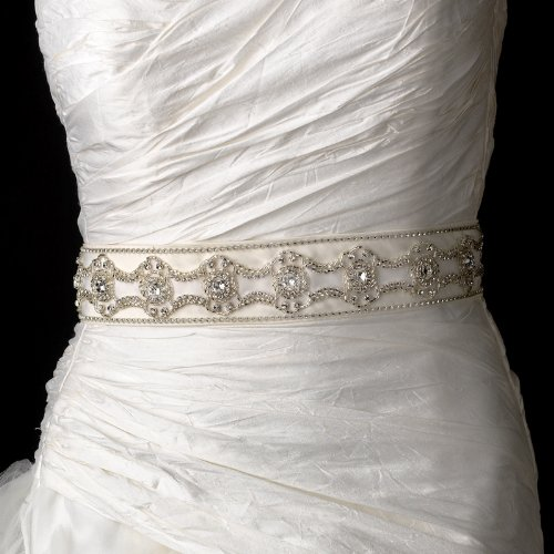 Beautiful Rhinestone and Beads Accented Wedding Bridal Sash Belt - Ivory