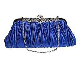 Pulama® - Evening Handbag Classic Satin Detachable Strap Royal Blue Clutch